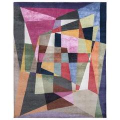 Rug & Kilim's Mid-Century Modern Style Rug in Multi-Color Geometric Pattern