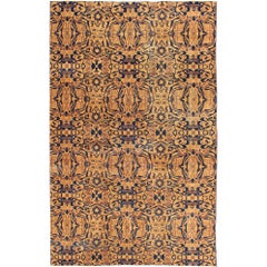 Mid-Century Modern Style Rug in Navy, Camel, Brown and Cream Colors
