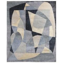 Mid-Century Modern Style Rug in Silver Gray Geometric Pattern by Rug & Kilim