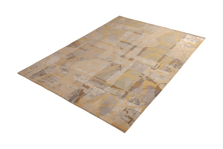 This hand knotted 9 x 12 rug represents the latest additions to the Mid-Century Modern collection by Rug & Kilim, a bold custom-capable line recapturing an underrepresented, iconic period with an entirely new approach to large scale, drawing, varied