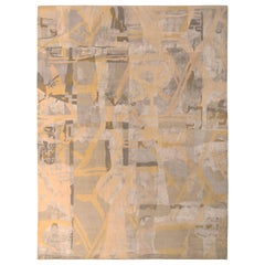 Mid-Century Modern Style Rug Silver-Gray and Gold Pattern by Rug & Kilim