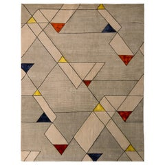 Rug & Kilim's Mid-Century Modern Style Rug Silver-Gray Geometric Pattern
