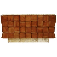 Mid-Century Modern Style Siena Marble Solid Birchwood Italian Sideboard