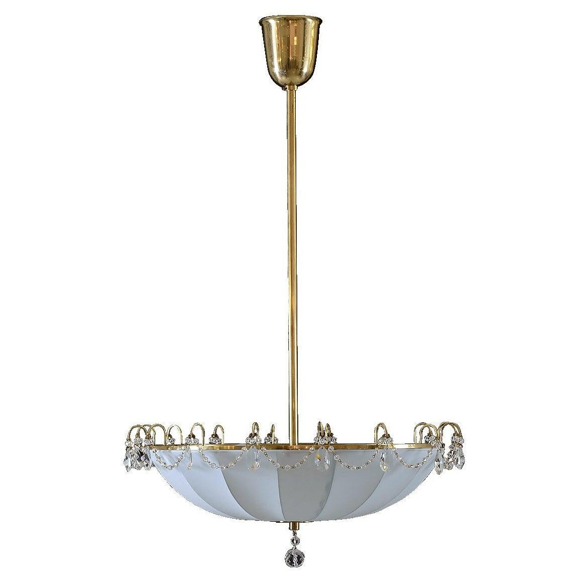 Mid-Century Modern Style Silk and Crystal Glass Chandelier, Re-Edition