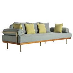 Mid-Century Modern Style Sofa, Reclaimed Hardwood, Brass Frames
