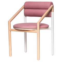 Mid-Century Modern Style Solid Minimal Wood Chair Upholstered in Textile