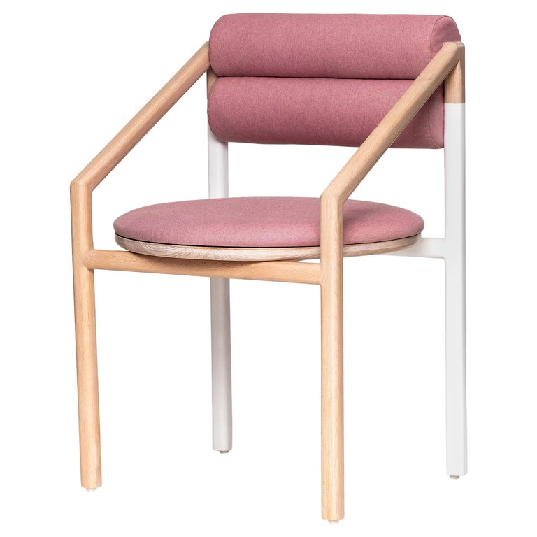 Mid-Century Modern Style Solid Minimal Wood Chair Upholstered in Textile For Sale