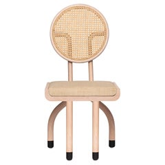 Mid-Century Modern Style Solid Minimal Wood Chair with Woven Cane Backboard
