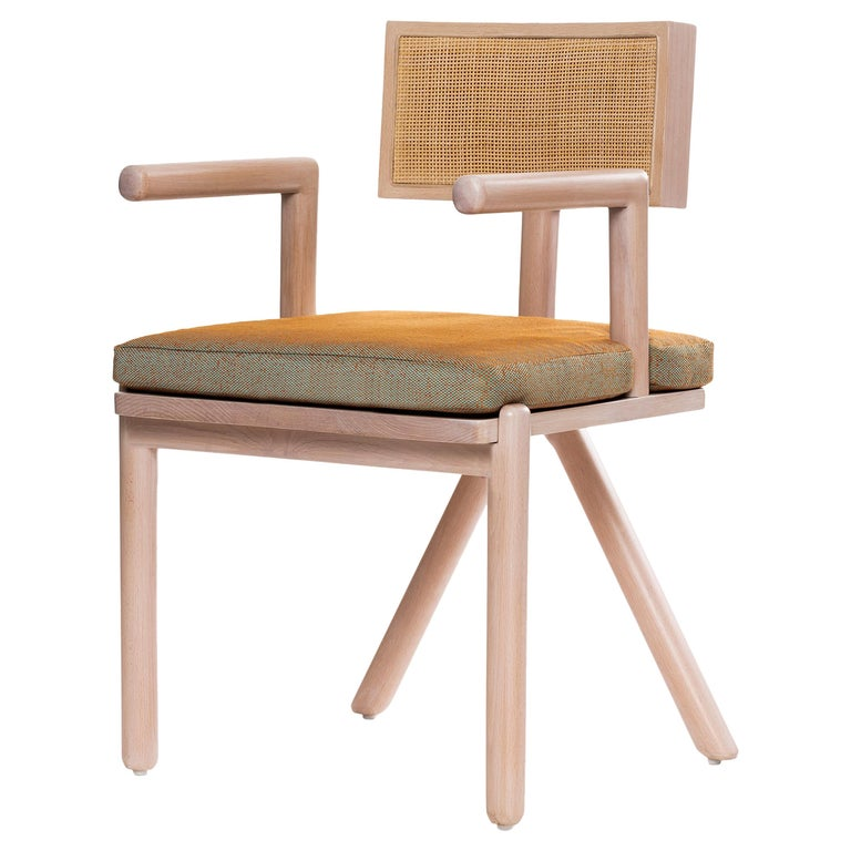 Mid-Century Modern Style Solid Minimal Wood Chair with Woven Cane Backboard For Sale
