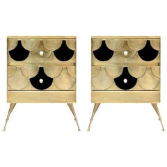 Mid-Century Modern Style Solid Wood and Brass Italian Commodes