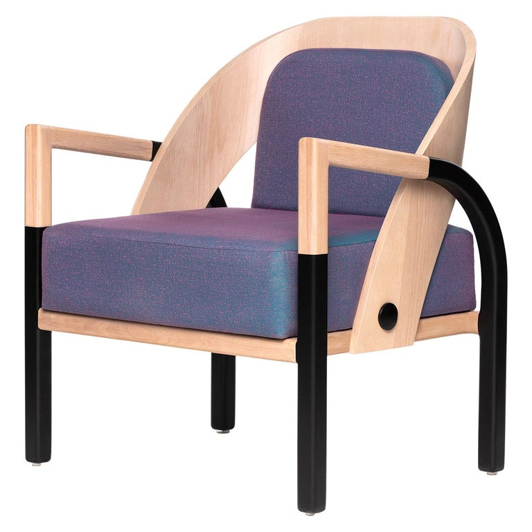Mid-Century Modern Style Solid Wood Armchair Upholstered in Cerulean Textile For Sale