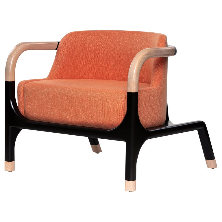 Mid-Century Modern Style Solid Wood Armchair Upholstered in Textile For Sale