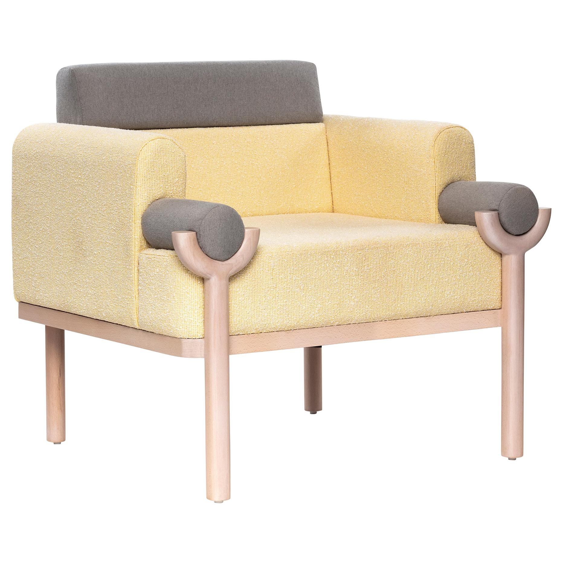 Mid-Century Modern Style Solid Wood Armchair Upholstered in Textile