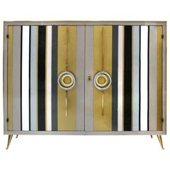 Mid-Century Modern Style Solid Wood Colored Glass and Brass Italian Commode