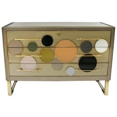 Mid-Century Modern Style Solid Wood Glass and Brass Large Italian Commode