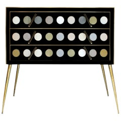 Mid-Century Modern Style Solid Wood Murano Glass and Brass Italian Commode