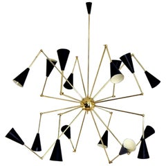 Mid-Century Modern Style Spider Brass Ceiling Lamp with 16 Articulated Arms