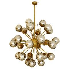 "Mid-Century Modern Style ""Sputnik"" Brass and Glass Italian Suspension Lamp"