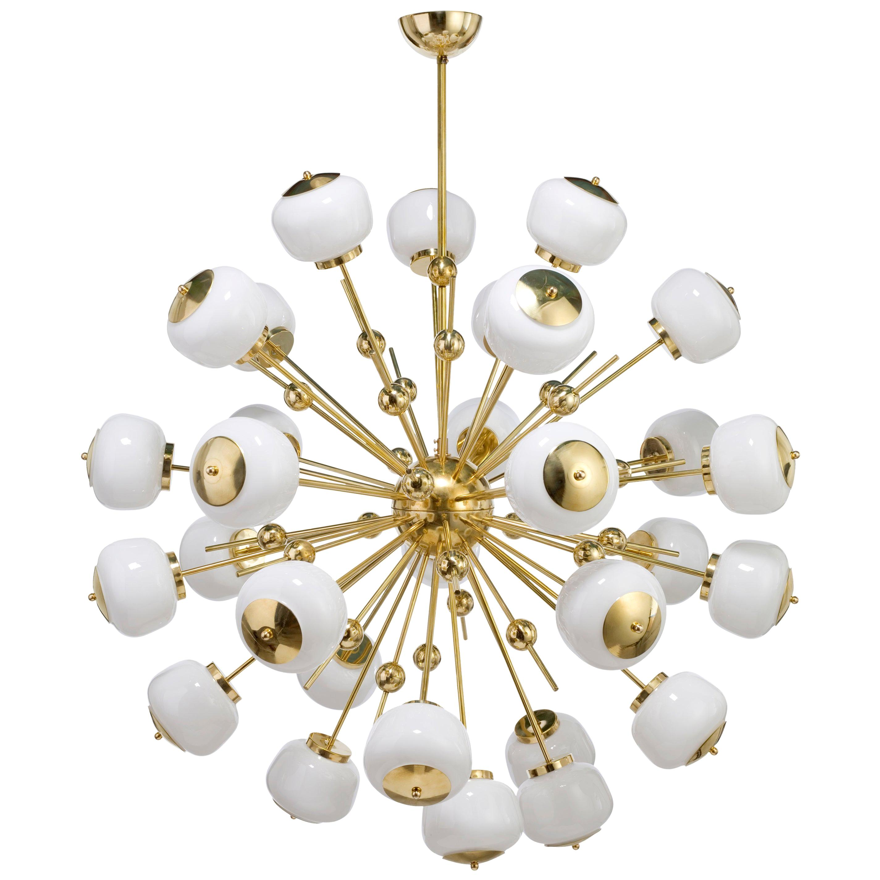 Mid-Century Modern Style, Sputnik Chandelier with Murano Glass Orbs