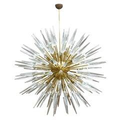 Mid-Century Modern Style Sputnik Murano Glass and Brass Italian Chandelier