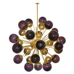 Mid-Century Modern Style Sputnik Murano Glass and Brass Italian Suspension Lamp