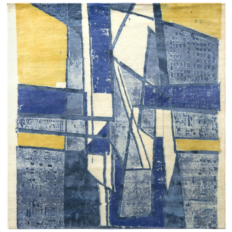 Rug & Kilim's Mid-Century Modern Style Square Rug in Blue Geometric Pattern