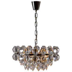Mid-Century Modern Style Very Big Crystal-Glass Stone Chandelier, Re-Edition