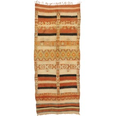 Mid-Century Modern Style Vintage Moroccan Striped Kilim Rug with High-Low Pile