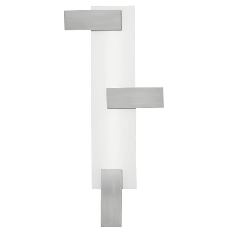Mid-Century Modern Style Wall Art Sconce Light White Glass with Three Rectangles