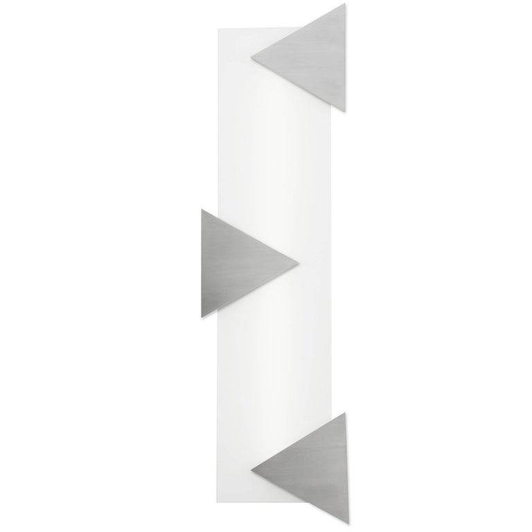 Mid-Century Modern Style Wall Art Sconce Light White Glass with Three Triangles
