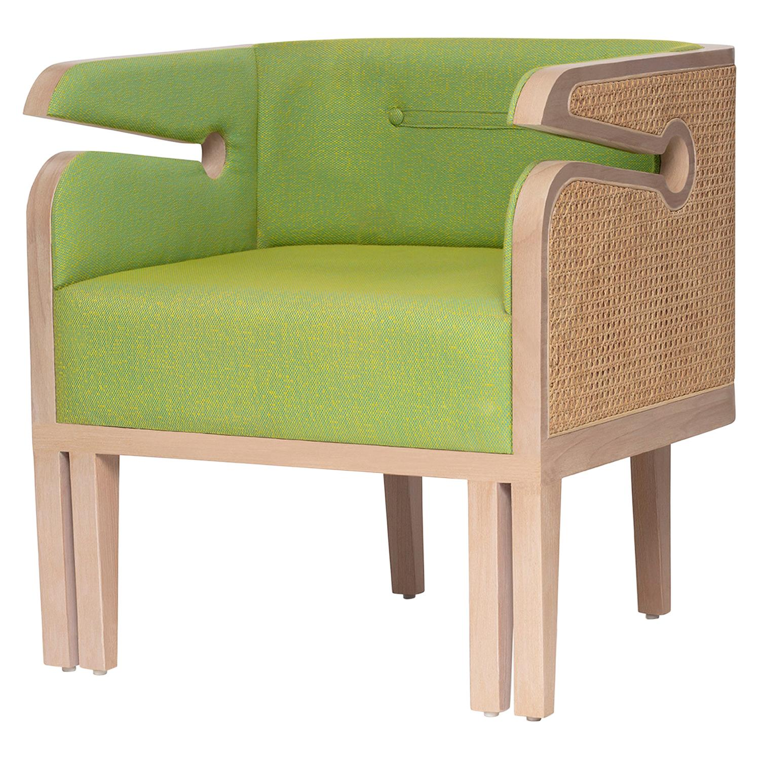 Mid-Century Modern Style Wood Armchair with Woven Cane Upholstered in Textile