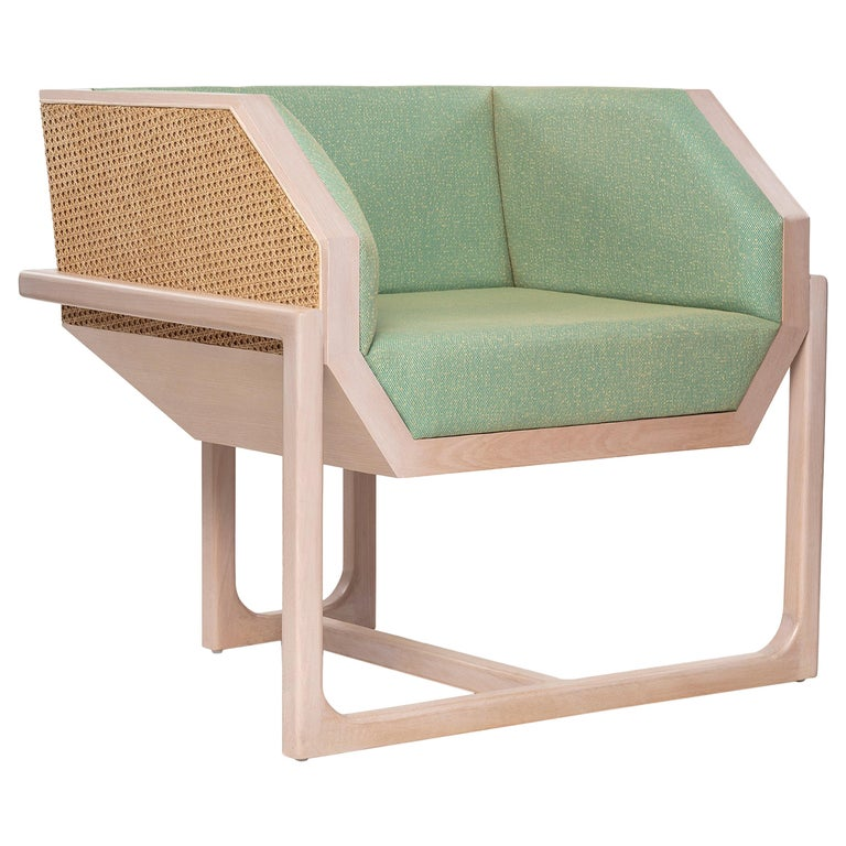 Mid-Century Modern Style Wood Armchair with Woven Cane Upholstered in Textile For Sale
