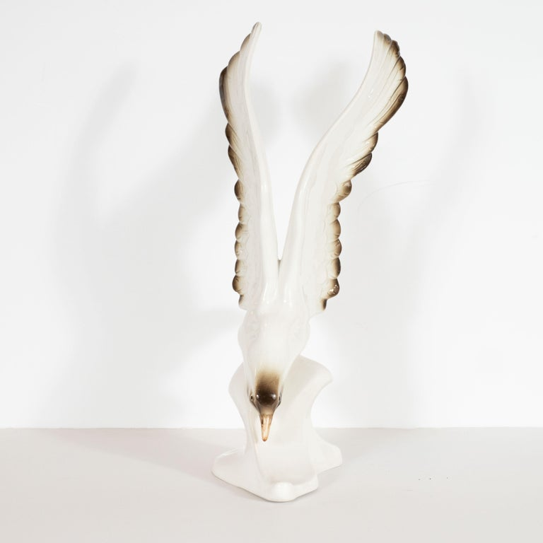 Czech Mid-Century Modern Stylized Seagull Porcelain Decorative Object by Royal Dux For Sale