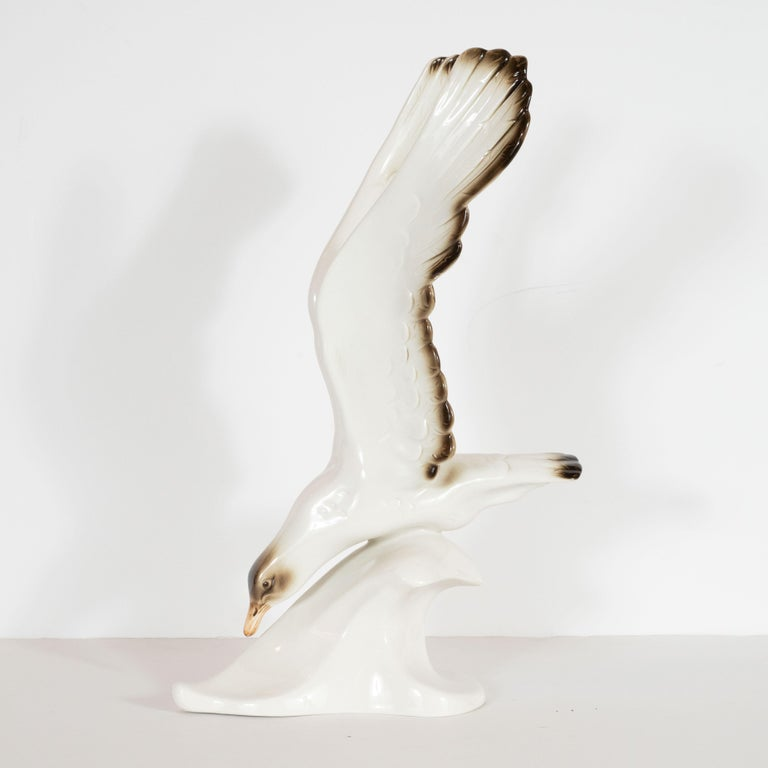 Mid-Century Modern Stylized Seagull Porcelain Decorative Object by Royal Dux For Sale 1