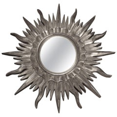 Mid-Century Modern Sun Silver Bath Wood French Mirror, 1960