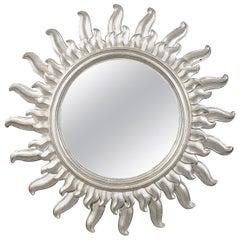 Mid-Century Modern Sun Silver Bath Wood Mirror, 1960