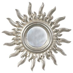 Mid-Century Modern Sun Silver Wood French Mirror, 1960
