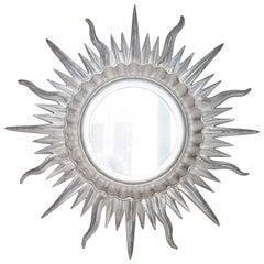 Mid-Century Modern Sun Silver Wood French Mirror, 1960