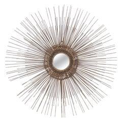 Mid-Century Modern Sunburst Brass Mirror