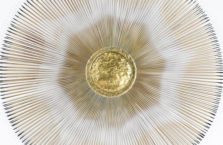 American Mid-Century Modern Sunburst Brass Wall Sculpture by Casa Devall
