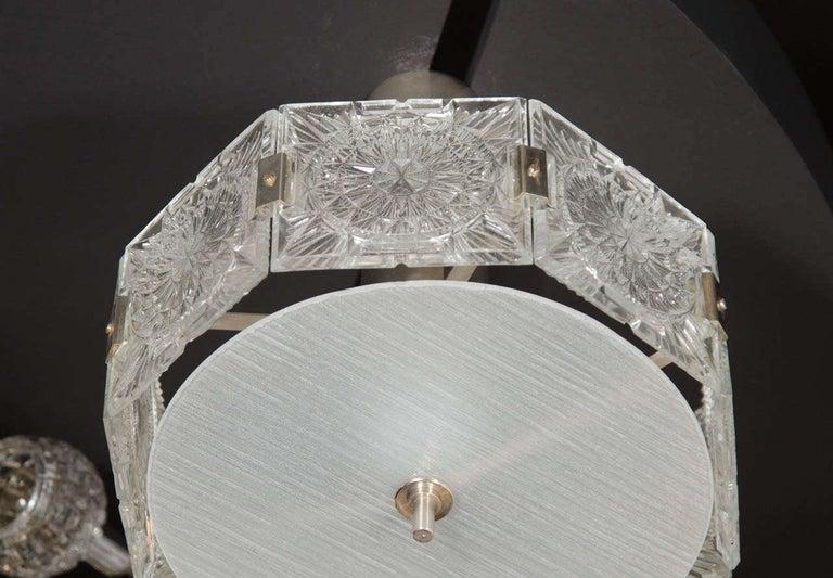 German Mid-Century Modern Sunburst Design Etched Glass & Nickel Chandelier by Kinkeldey For Sale