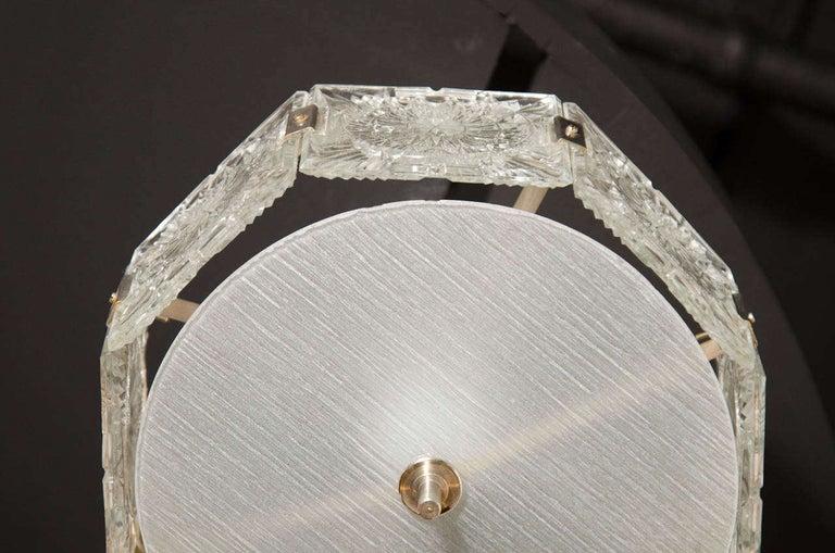 Mid-Century Modern Sunburst Design Etched Glass & Nickel Chandelier by Kinkeldey For Sale 1