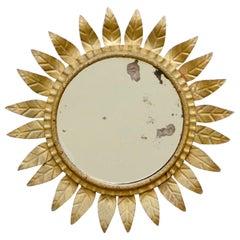 Mid-Century Modern Sunburst Mirror Brass, circa 1960