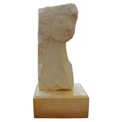 Mid-Century Modern Surrealist Marble Bust on Plinth after Picasso