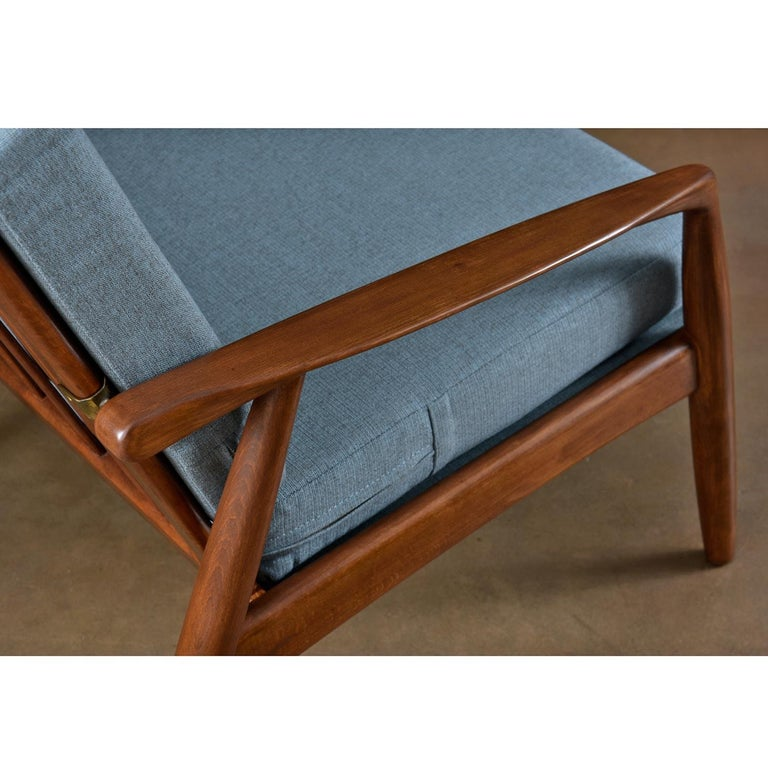 Fabric Mid-Century Modern Svend Madsen Beech Wood Lounge Chair For Sale