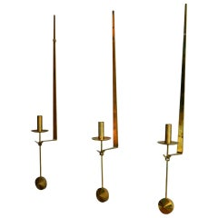 Mid-Century Modern Swedish Brass Pendel Candlesticks by Pierre Forsell