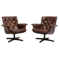 Mid-Century Modern Swedish Dark Brown Leather Armchairs