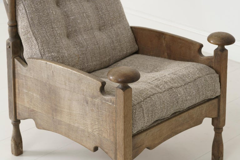 Linen Mid-Century Modern Swedish Fauteuil with Original Patina For Sale