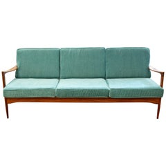 Mid-Century Modern Swedish Folke Ohlsson for DUX 3-Seat Curved Teak Sofa, 1960s