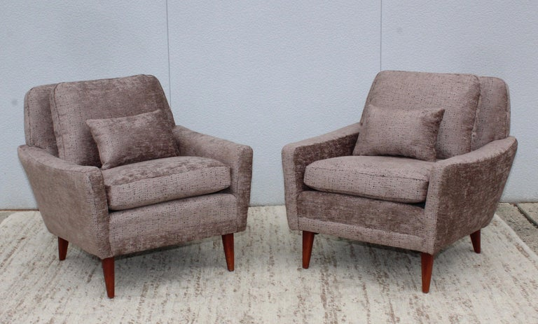 Chenille Mid-Century Modern Swedish Lounge Chairs by DUX